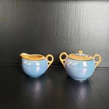 Peach Blue Lusterware Porcelain Sugar Bowl Lid Creamer Made in Japan Art... - $29.99