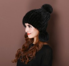 fashion lady's  real mink fur fox Three fox hair bulb  mink knitted  hat/black - $29.69