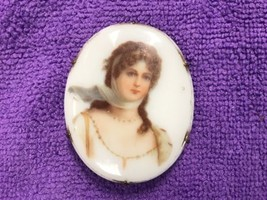 "Antique Victorian Hand Painted Brooch  2""x2"" - $78.39"