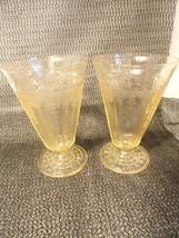 "2 Topaz Princess Goblets Depression Glass 10 0z Footed 5 1/2"" - $23.99"