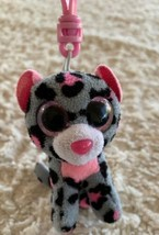 Ty Beanie Boo Gray Pink Black Bear Animal Print Keychain Backpack Toy - $6.43