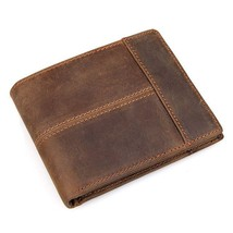 Men Crazy Horse Leather Stitching Tactical Billfold Wallet With Coin Pocket - $24.45