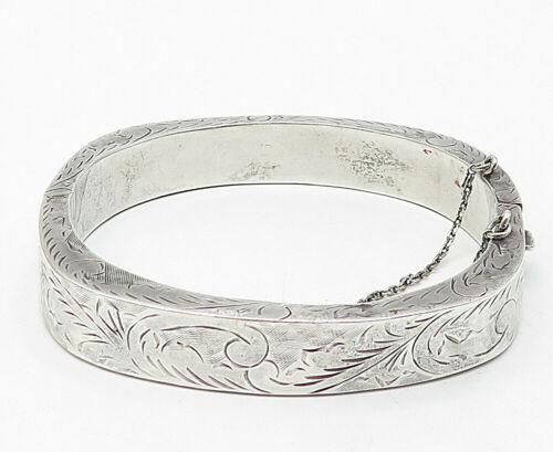 925 Sterling Silver - Vintage Floral Vine Etched Square Bangle Bracelet - B4983
