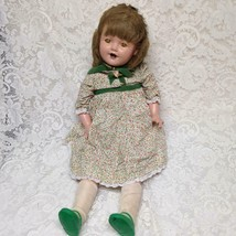 Vintage, 28in Composition Doll in Floral Dress with Green Shoes - $189.95