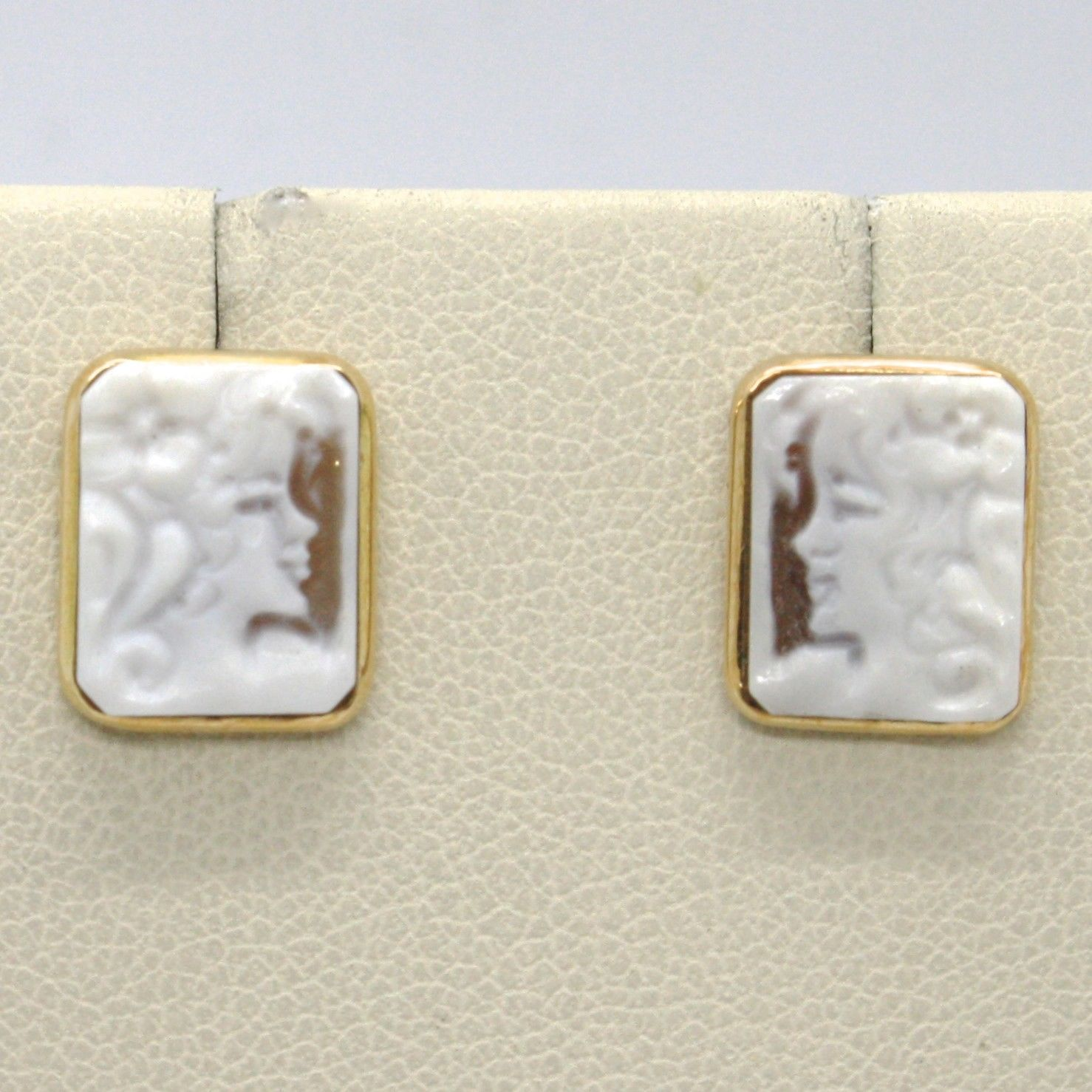 18K YELLOW GOLD EARRINGS, SQUARE LADY & FLOWER CAMEO, FINELY HANDMADE IN ITALY