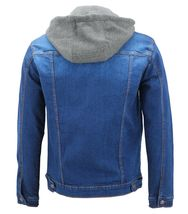 Men's Classic Button Up Removable Hood Slim Fit Stretch Denim Jean Jacket image 11