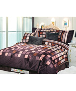 7-Pc Square Patchwork Striped Faux Fur Comforter Set Brown Taupe Beige R... - $86.94