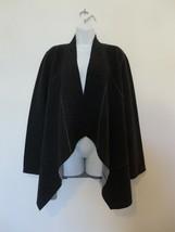 NWT EILEEN FISHER Charcoal  Double knit Merino Wool Moto Long Jacket XL - $232.79