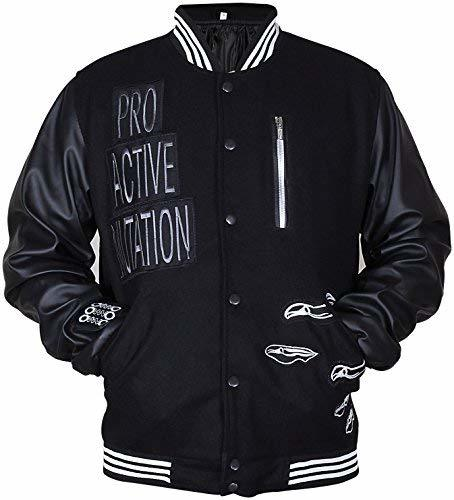 Primary image for Black Varsity Elgort Bomber Letterman Faux Leather Sleeves Jacket