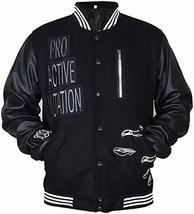 Black Varsity Elgort Bomber Letterman Faux Leather Sleeves Jacket image 1
