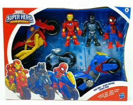 Marvel Super Hero Adventures 3 Pack Iron Man Black Panther Spider-Man Mo... - $38.61