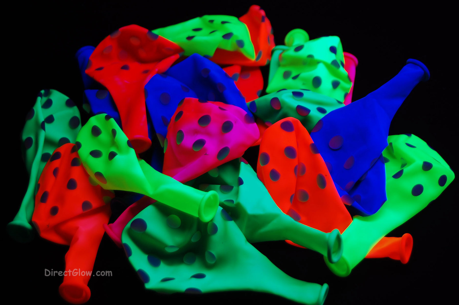 25 Pack 5 Color Assorted 11 inch Blacklight Reactive Latex Polka Dot Balloons