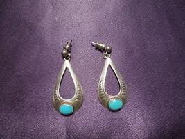 Sterling Silver Turquoise Earrings Southwestern Style Teardrop Signed - $24.75