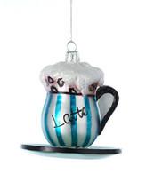 KURT ADLER KSA CAFE NOBLE GEMS GLASS LATTE COFFEE CUP & SAUCER XMAS ORNA... - $15.88