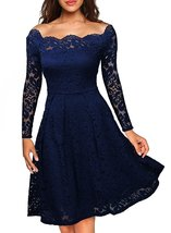 Women's Vintage Floral Lace Long Sleeve Boat Neck Cocktail Formal Swing ... - $49.99