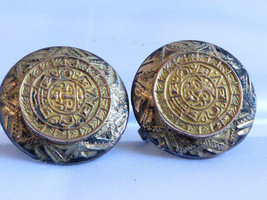 VTG Mayan Aztec Calendar 925 sterling silver goldtone Mexico screw clip earrings - $54.45
