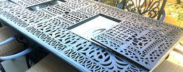 Luxury propane fire pit rectangle outdoor dining set 9 piece cast aluminum patio image 4