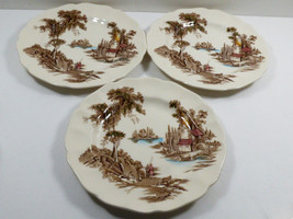 """VTG lot of 3 Johnson Brothers The Old Mill China Multi color bread plates 6.25"""" - $27.72"""