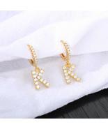 "1.5Ct Round Diamond Initial Letter ""K"" Drop Dangle Earrings 14K Yellow G... - $125.99"