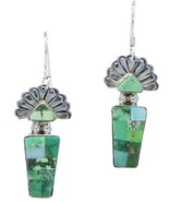 Navajo TURQUOISE EARRINGS Carico Lake Mosaic Inlay Butterfly Maiden Dangles - $679.00
