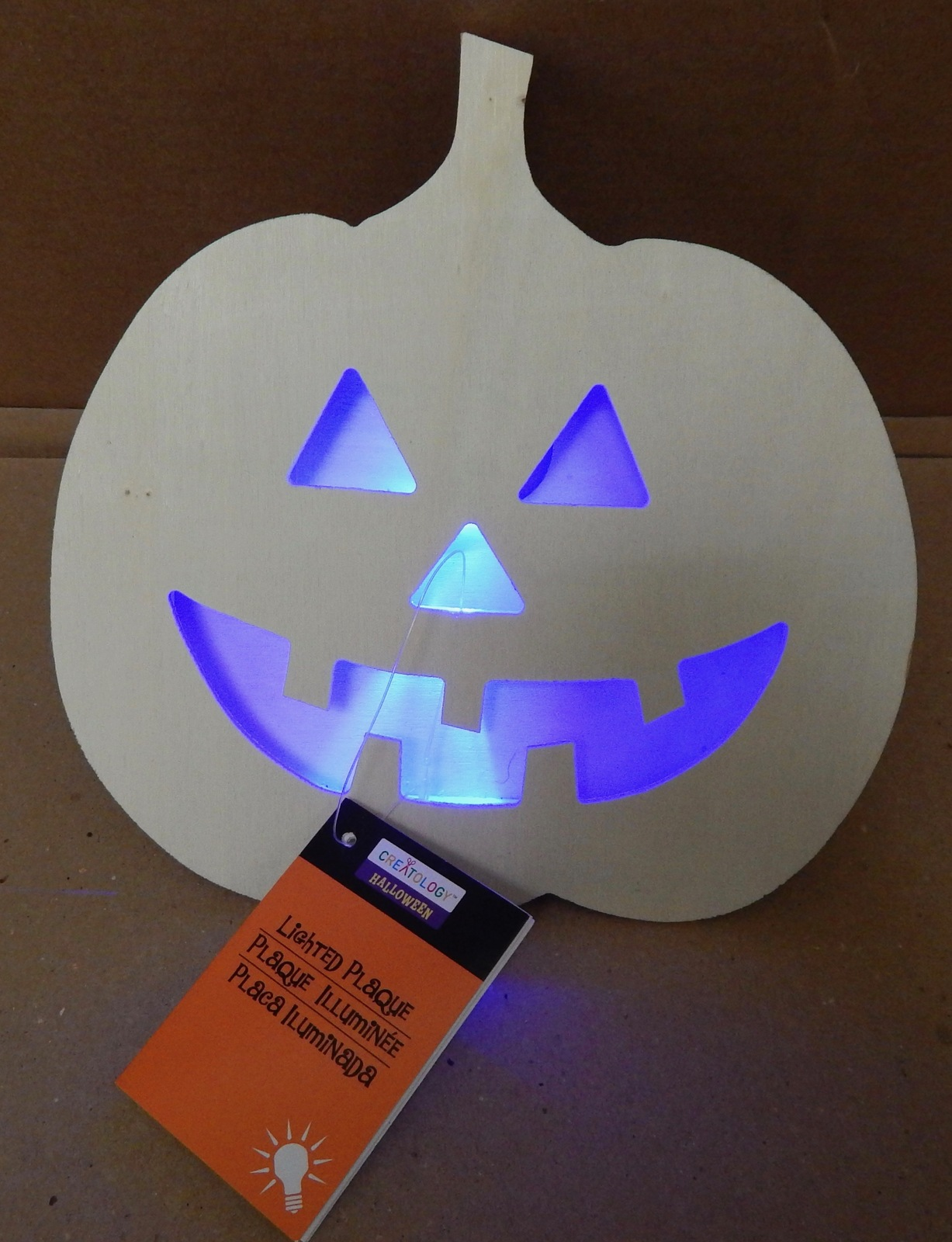 "Halloween LED Flash Lighted Plaque Wood Craft Creatology 7"" x7 1/2"" Pumpkin 127L"