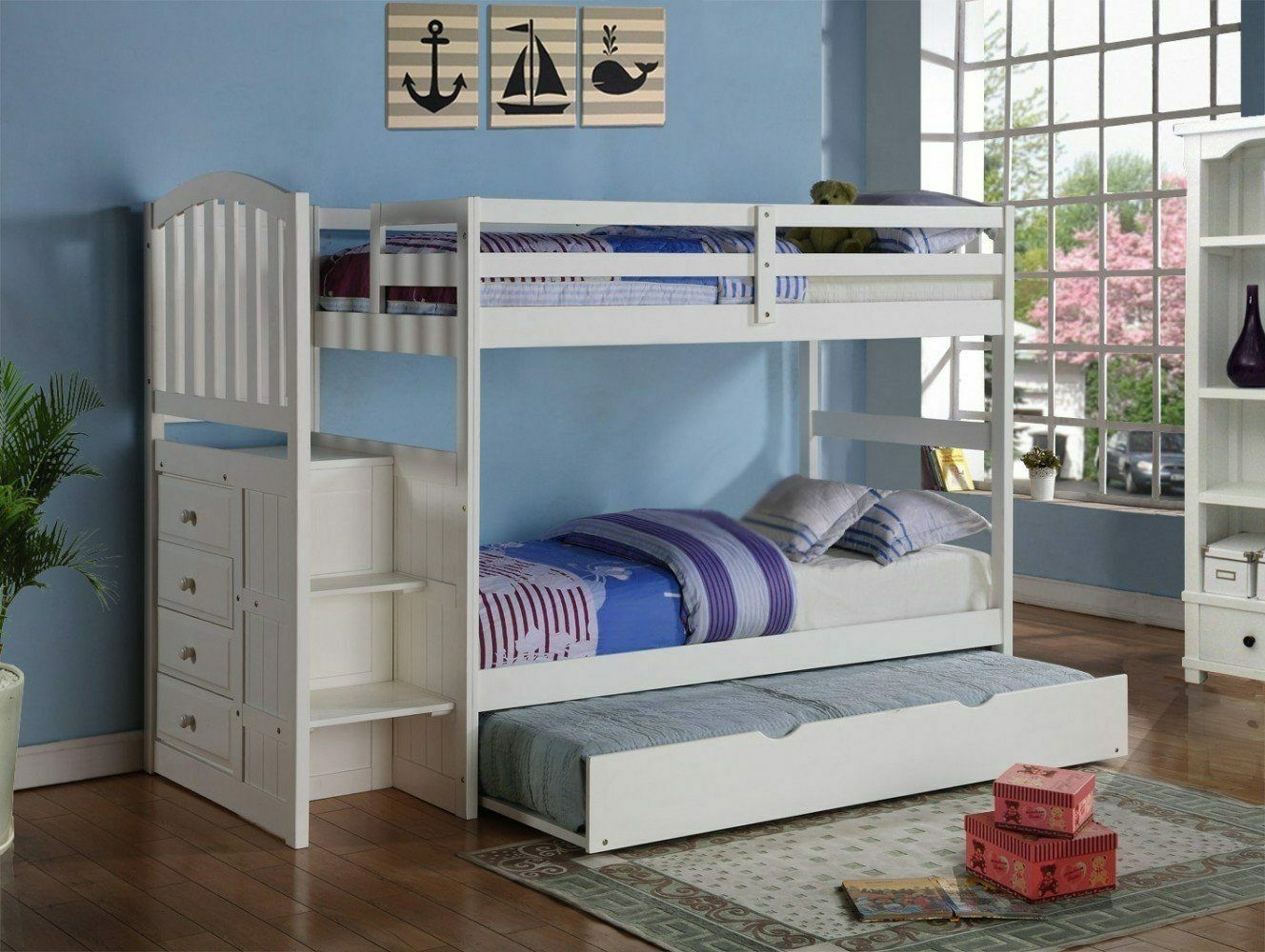 Emily White Twin over Full Bunk Bed with Stairs & Trundle ...