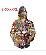 Unisex Totally 90S Zipper 3D Hoodies Print Rugrats Hey Arnold Animaniacs Johnny  - $49.98