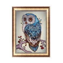 painting owl cross stitch beautiful blue owl animal needlework home decorative 3d full thumb200