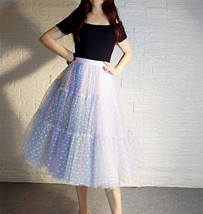 Women Girl Rainbow Long Tulle Skirt Polka Dot Rainbow Skirt Holiday Skirt Outfit image 6
