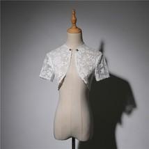 White Lace Wedding Cover Ups Retro Style Bridal Shrugs Boleros Pearl deco Plus  image 1