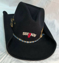 Western Express Cowboy Hat Black Faux Felt Size 7 Rodeo 8 Seconds Costume - $29.69