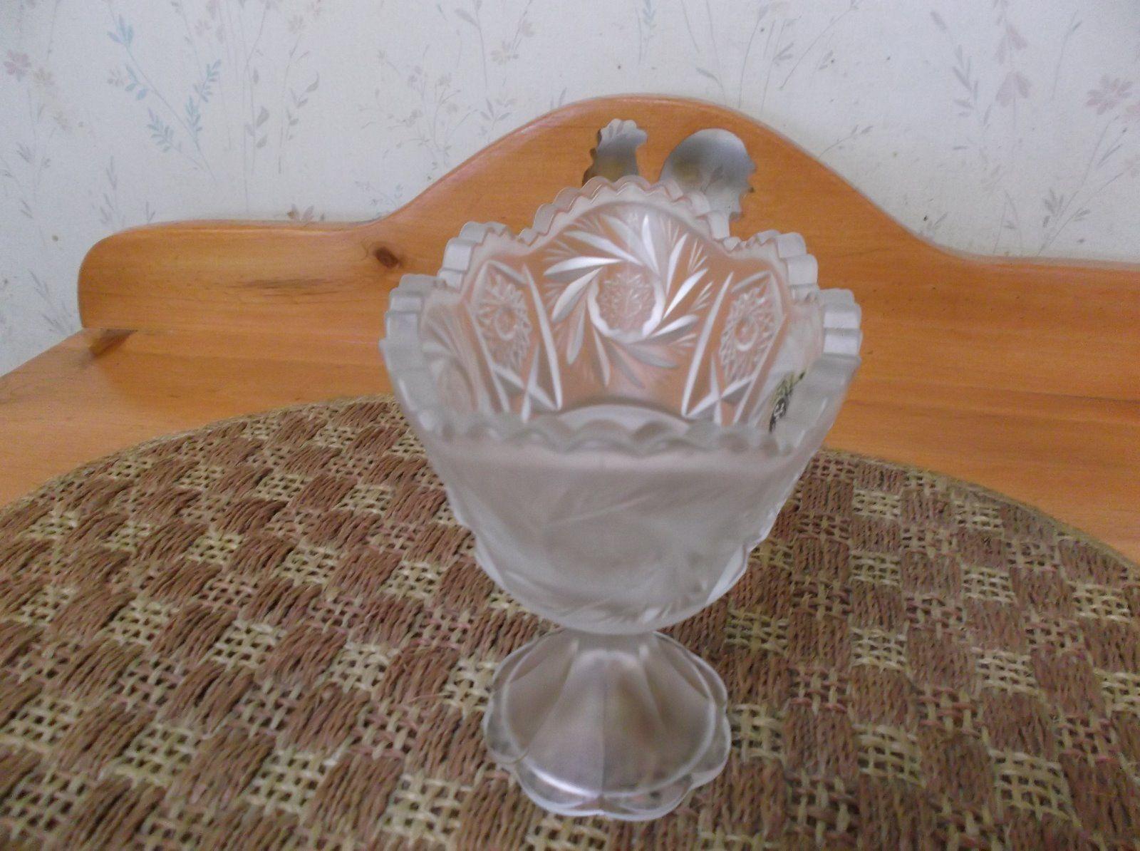 Beautiful Vintage Satin Glass Fenton Console Pinwheel Pattern *EVC*