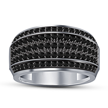 Black Diamond Ring 14k White Gold Over 925 Pure Silver Mens Wedding Band Ring - £95.53 GBP