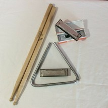 Musical Instrument Lot Triangle Drumsticks Harmonica Toy Tunes First Act  - $4.95