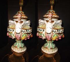 Exotic Chinese Dragon lamps Nude erotic Masthead Capodimonte porcelain Koi Fish  - $1,400.00