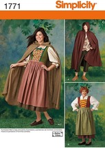 Simplicity 1771 Misses' Dirndl Dress, Cape Costume Pattern Sz 8-18, Men'... - $12.00