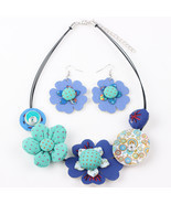 (BLUE)Bonsny Brand Fabric HANDMADE Statement Flower Necklace Earrings Je... - $24.00
