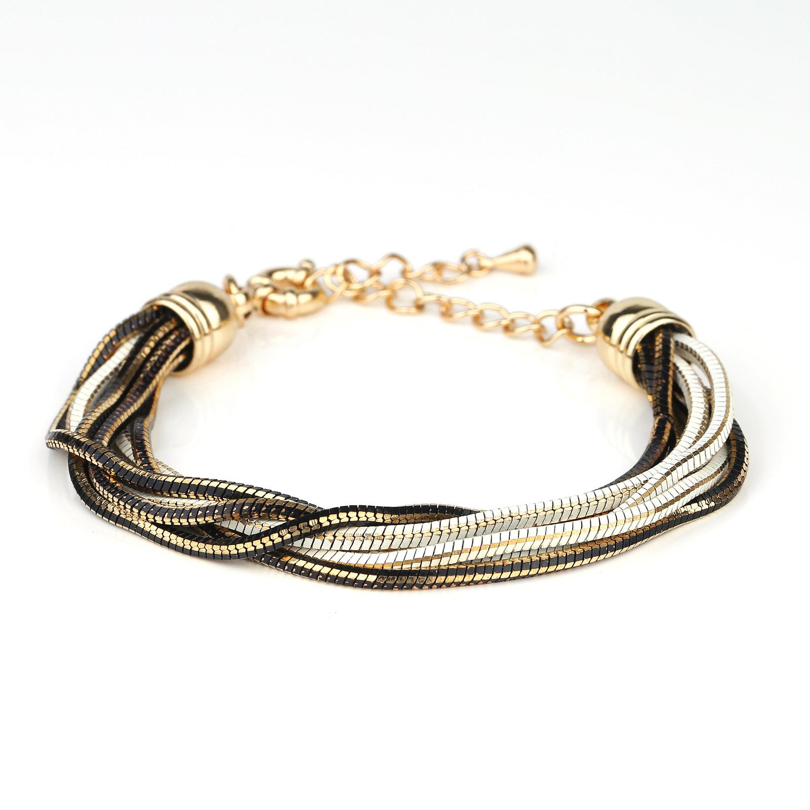 UE- Stylish Multi Strand Gold Tone Designer Bracelet With Black & White Overlay