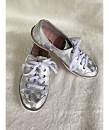Dr Scholls Size 6.5 Maylee Lace Up Tennis Shoes White Silver Fabric Athl... - $29.70