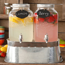 The Pioneer Woman Set of 2 Twin Gallon Drink Dispenser with Ice Bucket New - $40.32