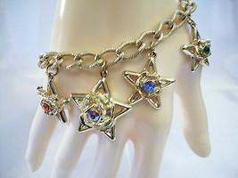 STARS Rhinestone CHARM Bracelet Frosty Gold Plated Curb Link Red AB Blue... - $11.83