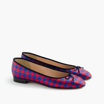 J. CREW Kiki Ballet Flats Houndstooth Jacquard Size 8 Red & Blue Retail:... - $89.00