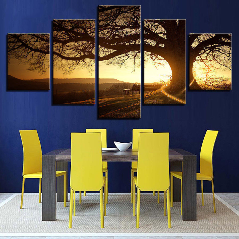 Framed 5 Piece Sunset Tree Landscape Printed Poster Canvas Wall Art ...