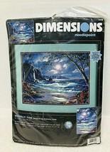2001 Dimensions Needlepoint Moonlit Tide Ocean Cliff Tree Floral MIP No 2498 - $32.18