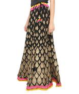 Yellow & Pink Border Brocade Print Jaipuri Skirt - $25.75