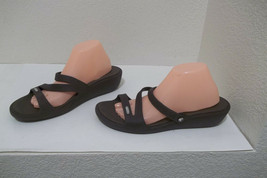 Womens Crocs Brown Slides Sandals Shoes Sz 11 - $14.99