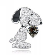 Crystal Snoopy Dog Black Heart Brooch Pin 18K White Gold Plated - $16.71