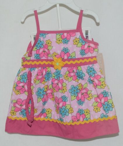 Mon Petit Pink Flowered Babydoll Top Bloomers Elastic Headband 24 month Size