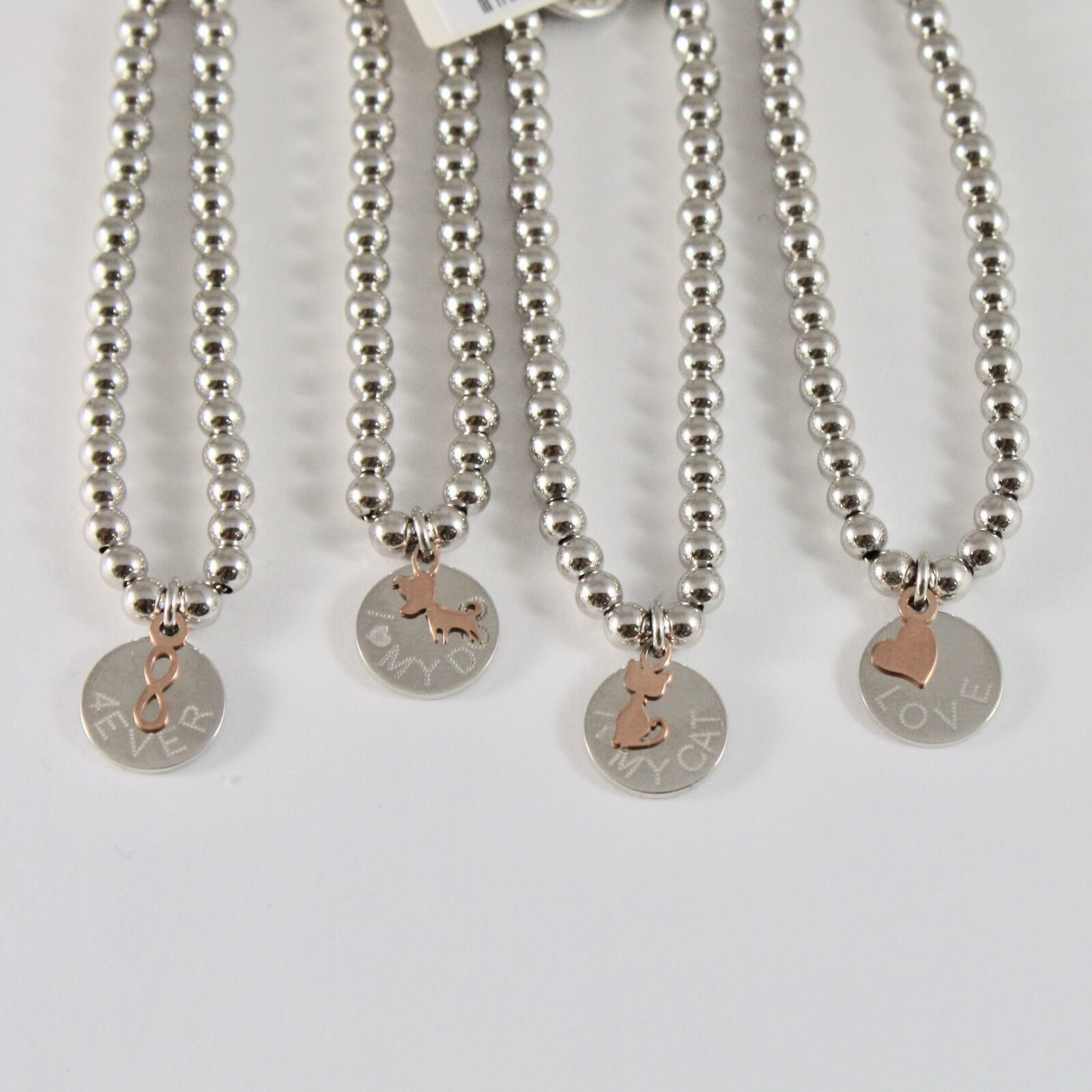 Silver Bracelet 925 Jack&co with Balls Shiny and Pendant in Rose Gold 9 Carats