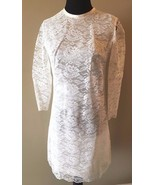 Vintage 1960s White Satin and Lace Mod Mini Shift Dress size XS Long Sle... - $44.95